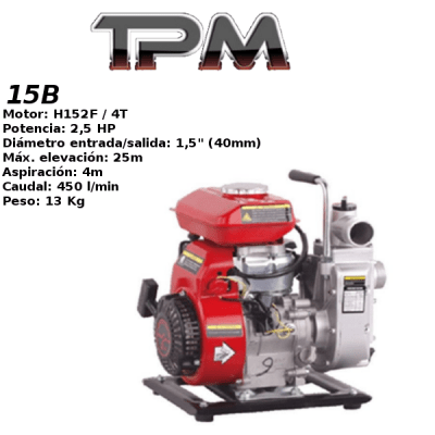 Motobomba agua TPM 15B