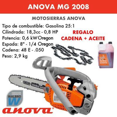 Motosierra Anova MG2008 + cadena y aceite de regalo