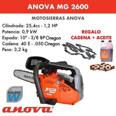 Motosierra Anova MG2600 + cadena y aceite de regalo