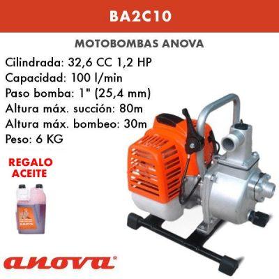 Motobomba agua Anova BA2C10