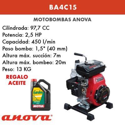 Motobomba agua Anova BA4C15
