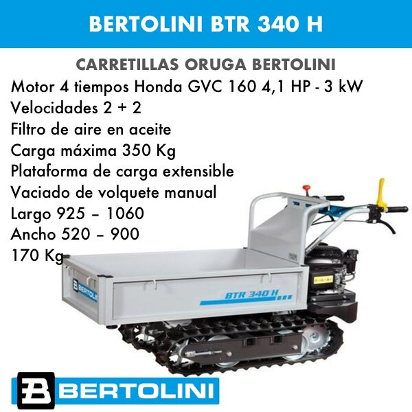 Carretilla oruga Bertolini BTR 340 motor Honda