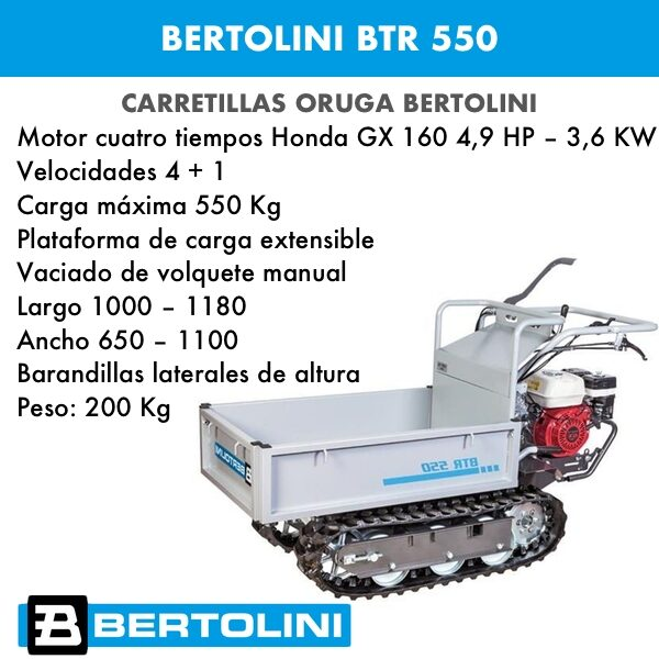 Carretilla oruga Bertolini BTR 550 motor Honda