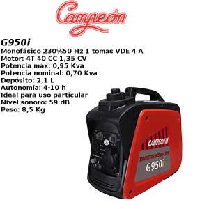 Generador inverter campeon G950i