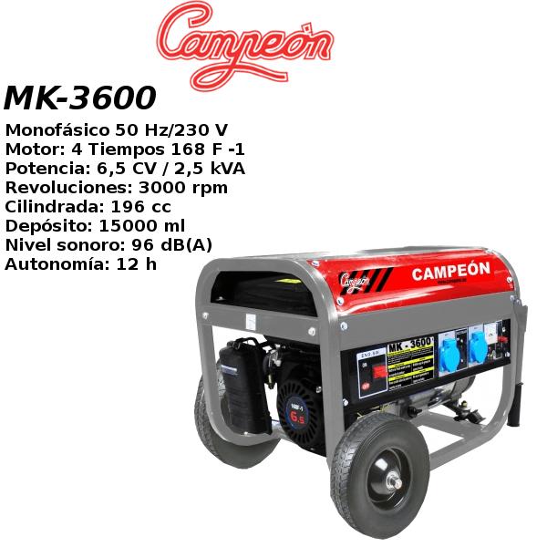 Generador electrico campeon MK-3600