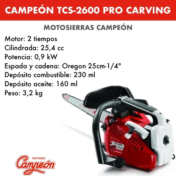 Motosierra Campeon TCS-2600 PRO Carving