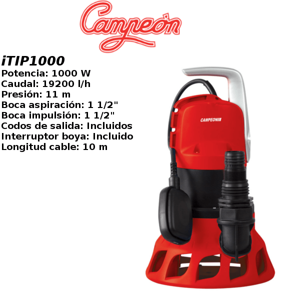 Bomba de agua campeon iTIP1000