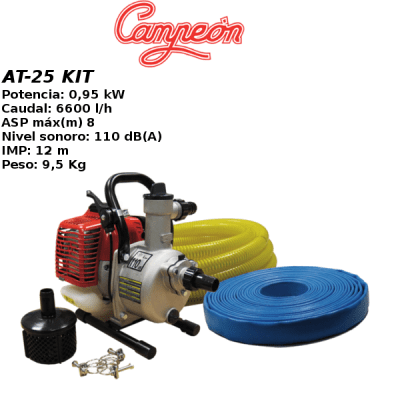 Motobomba campeon AT-25 KIT