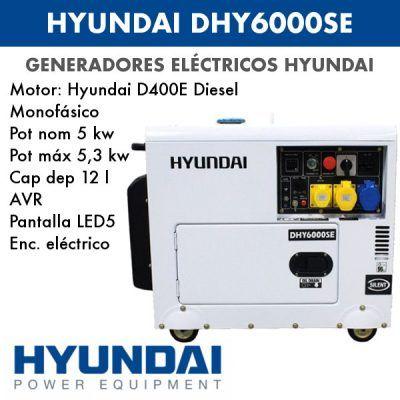 Generador electrico HYUNDAI DHY6000SE