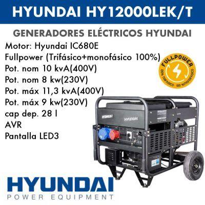 Generador eléctrico Hyundai HY12000LEK-T