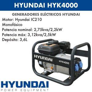 Generador eléctrico Hyundai HYK4000