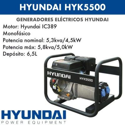 Generador eléctrico Hyundai HYK5500