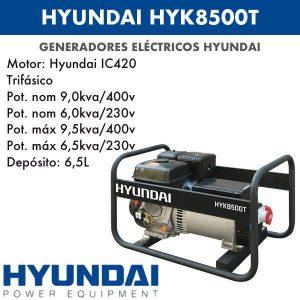 Generador eléctrico Hyundai HYK8500T