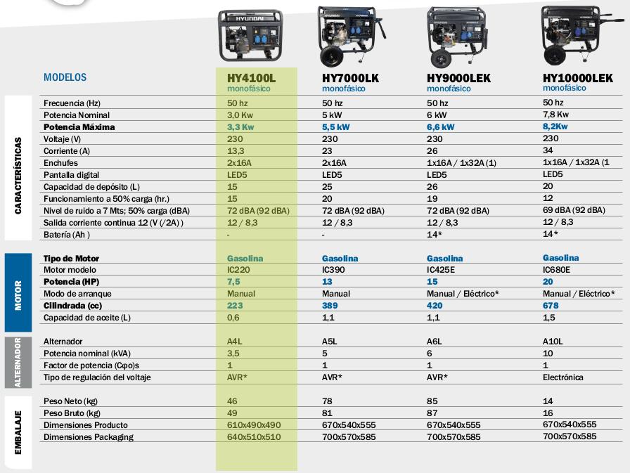 Generador electrico HYUNDAI HY4100L