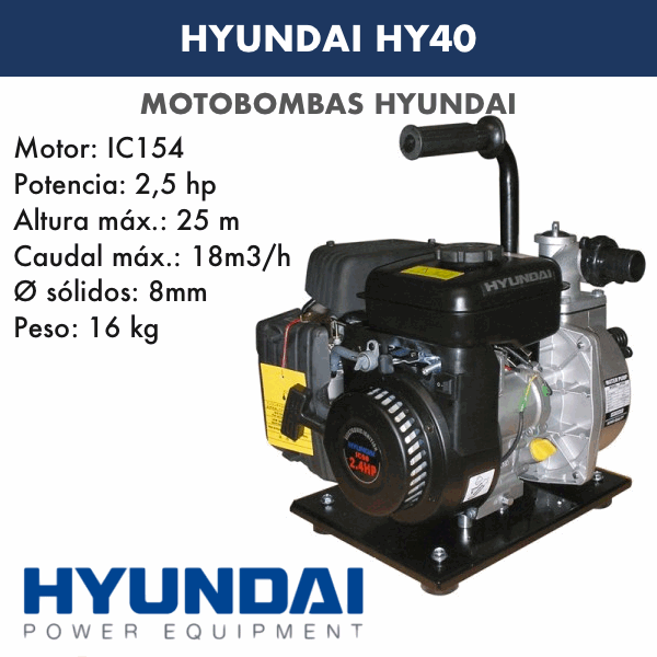 Motobombas gasolina Hyundai HY40