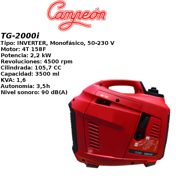 Generador inverter campeon TG-2000i