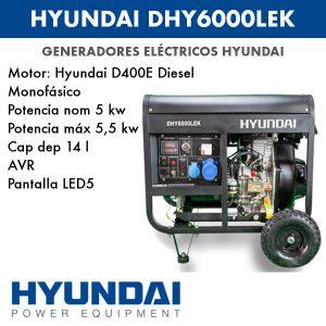 Generador eléctrico monofásico diesel Hyundai DHY6000LEK