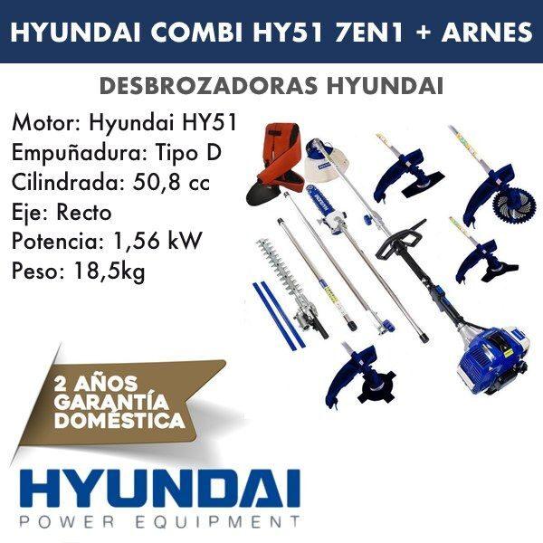 Desbrozadora combi HY51 HYUNDAI 7 en 1-5 + arnés