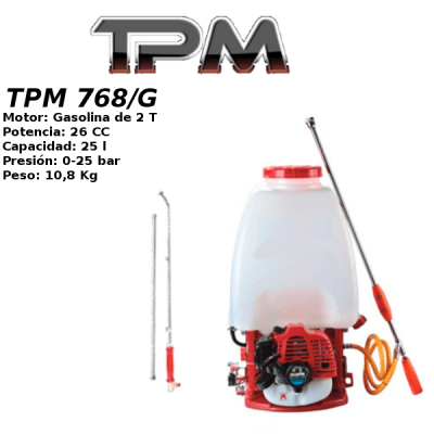 Sulfatadora de mochila gasolina (2 lanzas) TPM 768/G