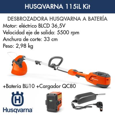 Desbrozadora Husqvarna Kit 115iL de batería + QC80 + BLi10