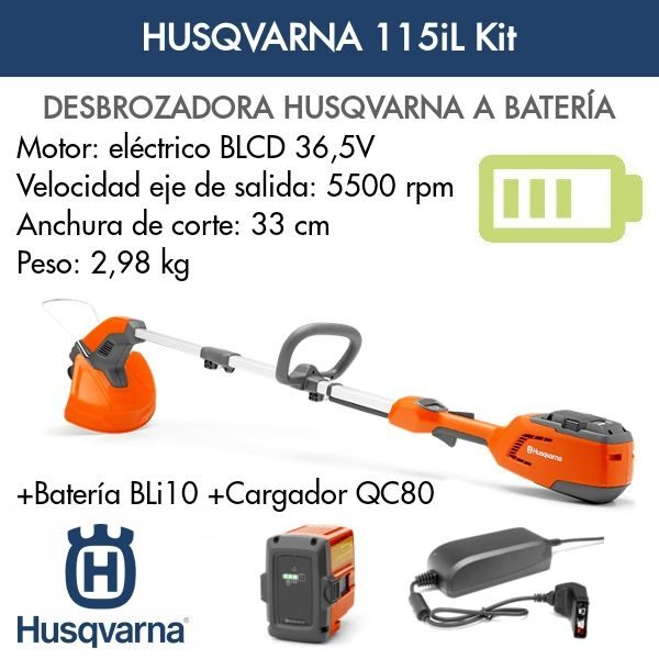 Desbrozadoras bateria Husqvarna 115iL Kit