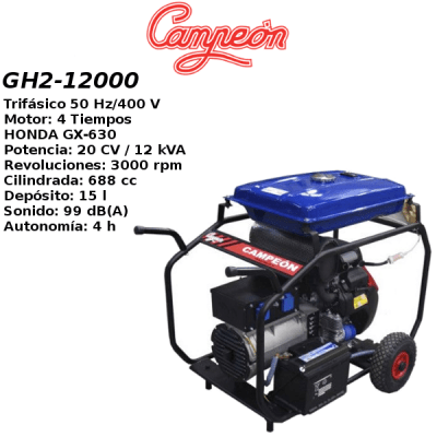 Generador Campeon GH2 12000 HONDA A-E Trif