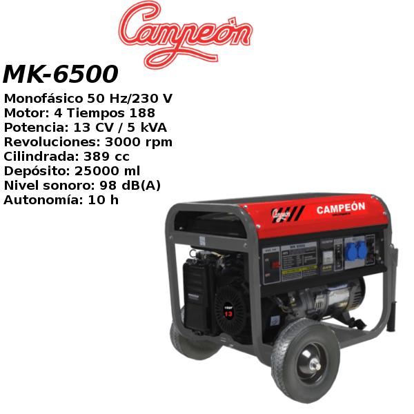 Generador electrico Campeon MK6500T Trif