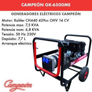 generador eléctrico campeón gk-6500me
