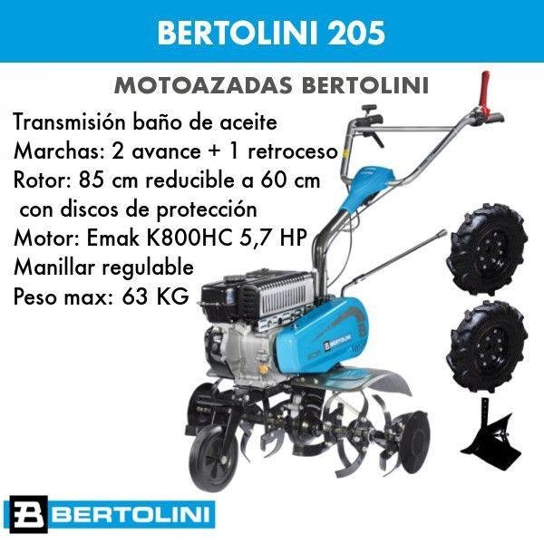 Motoazada BERTOLINI 205 + aporcador, ruedas y portaperos