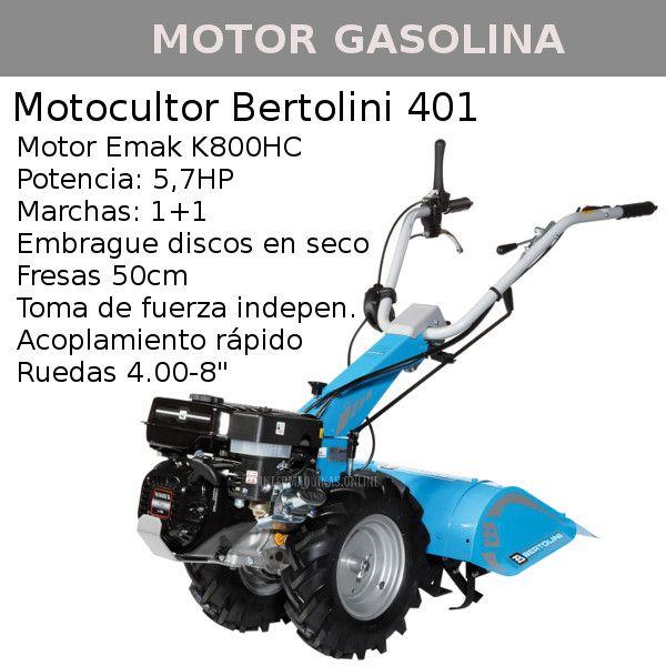 Motocultores gasolina Bertolini 401 motor Emak