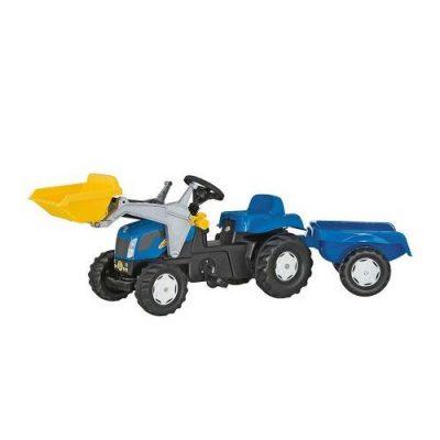Tractor New Holland con remolque y pala