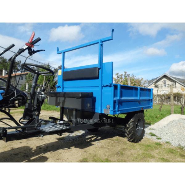 Remolque motocultor con basculante hidráulico azul