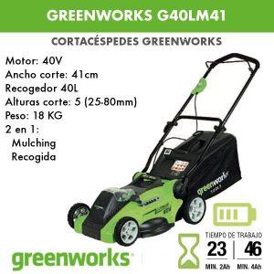 Cortacesped bateria Greenworks G40LM41