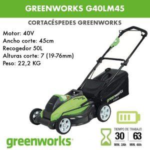 Cortacesped bateria Greenworks G40LM45