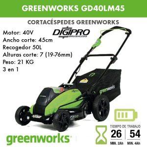 Cortacesped bateria Greenworks GD40LM45