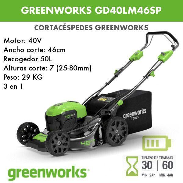 Cortacesped batería Greenworks GD60LM46SP