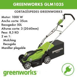 Cortacésped eléctrico Greenworks GLM1035