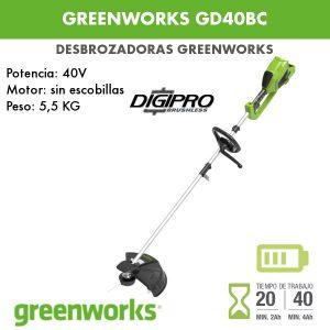 Desbrozadora batería Greenworks GD40BC