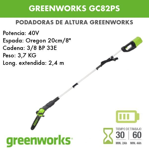 Podadora de altura batería Greenworks GC82PS