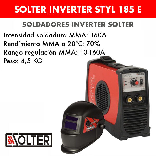 Soldador inverter Solter Styl 185 E + optimatic 100