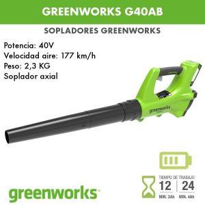 Soplador a batería Greenworks G40AB