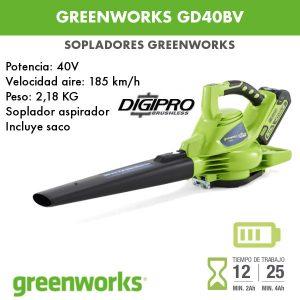 Soplador a batería Greenworks GD40BV