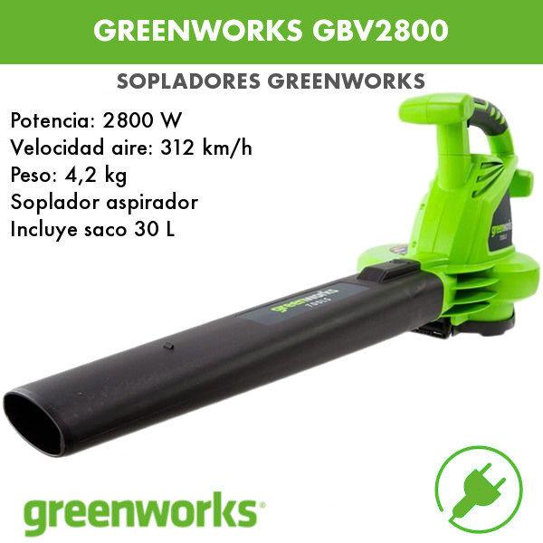 Soplador aspirador Greenworks GBV2800