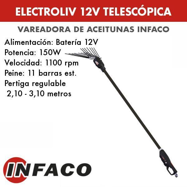 Vareadora de aceitunas electroliv 12V telescopica