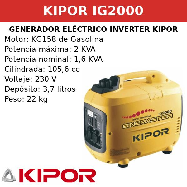 Generador Eléctrico Inverter IG2000 de Gasolina