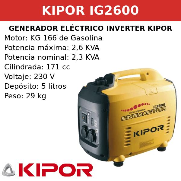 Generador inverter digital kipor IG2600