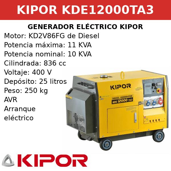Generador Eléctrico KDE12000TA3 de Diesel
