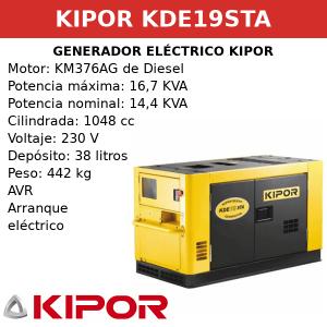 Generador Eléctrico KDE19STA de Diesel