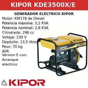 Generador Eléctrico KDE3500X-E de Diesel