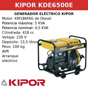 Generador Eléctrico KDE6500E de Diesel